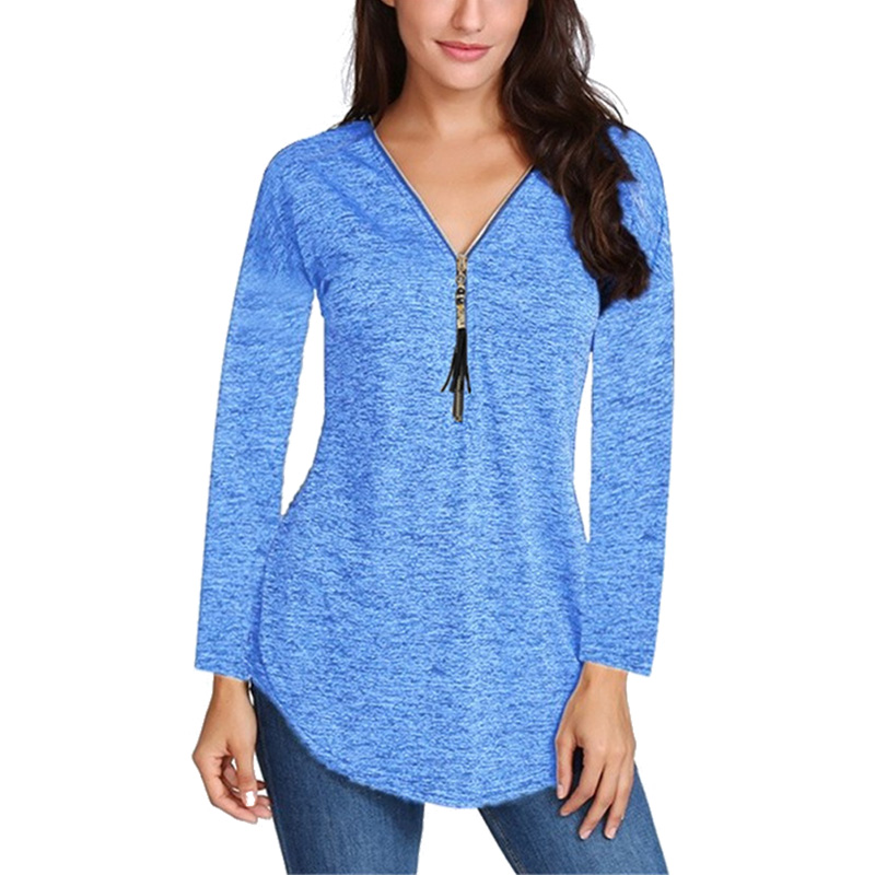 Primavera nova feminina manga longa com decote em v tshirt com zíper tshirt feminino blusas camisa casual algodão plus size camiseta 5xl