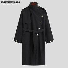 INCERUN Fashion Men Trench Solid Coats Turtleneck Long Sleeve Button Loose Irregular Long Windbreakers Men Streetwear S-5XL 2021