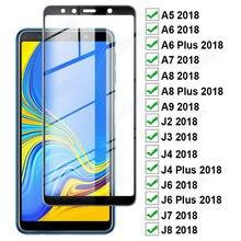Защитное стекло 11D с полным покрытием для Samsung Galaxy A6 A8 Plus A5 A7 A9 2018, защитная пленка для экрана J4 J6 Plus J2 J7 J8 2018, стеклянная пленка
