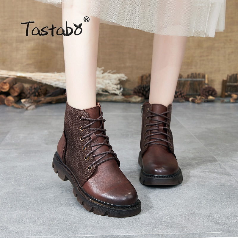 Tastabo 2019 autumn and winter booties Handmade vintage Martin boots Wearable women's shoes S8026 1 Dark blue Brown Caramel