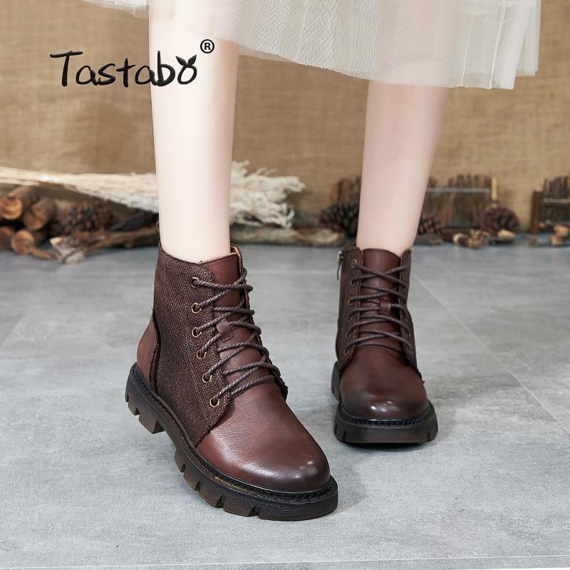 Tastabo 2019 outono e inverno botas botas Martin do vintage Feitos À Mão das mulheres Wearable sapatos S8026-1 azul Escuro Marrom Caramelo