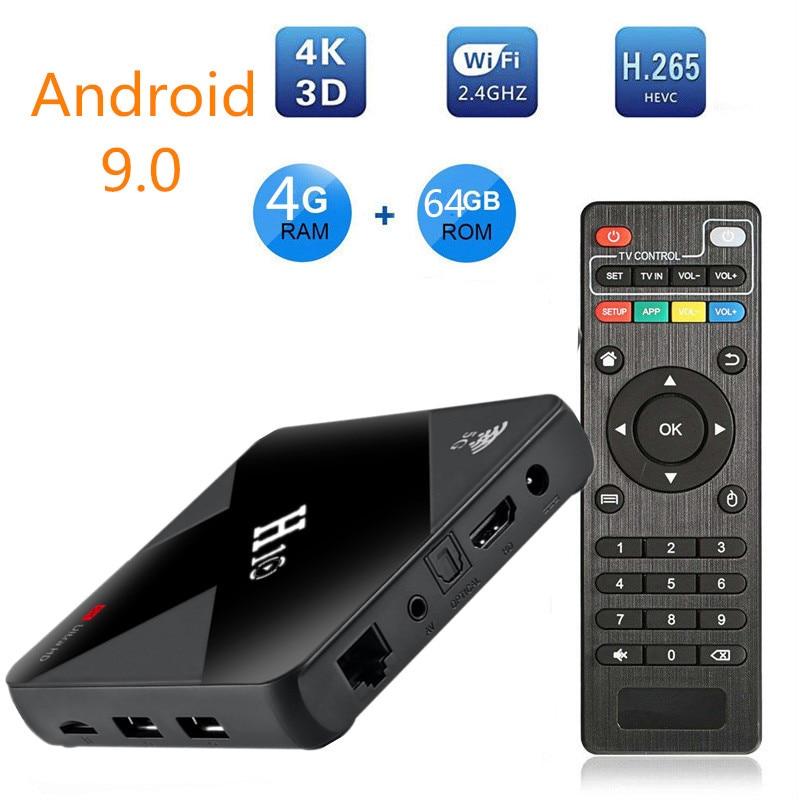 Boîtier TV intelligent Android 9.0 h10 mini Allwinner H6 4GB RAM 64GB 32GB 16GB H.265 Wifi lecteur multimédia 4K pour Google Youtube décodeur
