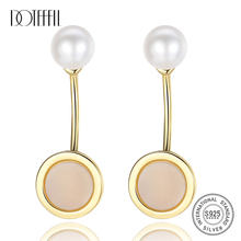 DOTEFFIL New Earrings Natural Freshwater Pearl 925 Sterling Silver Gilt Pearl Earrings For Women Jewelry Wedding/Party Gift natural pearl stud earrings aaaa freshwater pearls 8 9mm 925 sterling silver earrings for women jewelry gift zhrukan