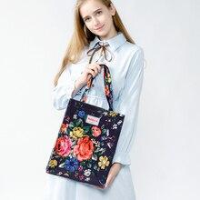 Original PVC Canvas Women Reusable Shopping Bag Eco Friendly Flower Shopper Bag Waterproof Handbag Lunch Tote Shoulder Bag