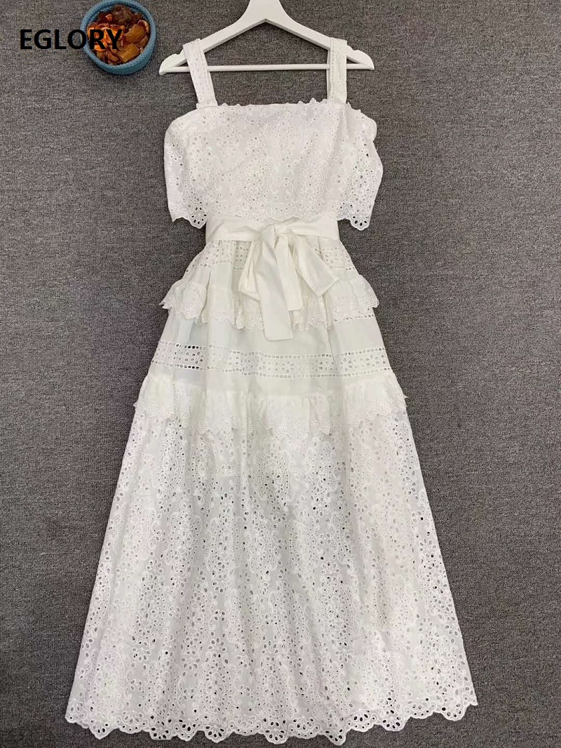 2020 Summer Fashion Strap Dress High Quality Women Ruffle Lace Patchwork Exquisite Embroidery Sleeveless White Cotton Dress