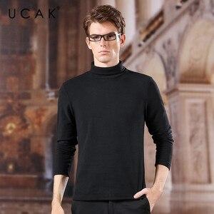 Image 1 - UCAK marka poliester prosta koszula mężczyźni 2020 Trend w modzie golf casual wiosenna jesień Streetwear New Arrival T shirt U1036
