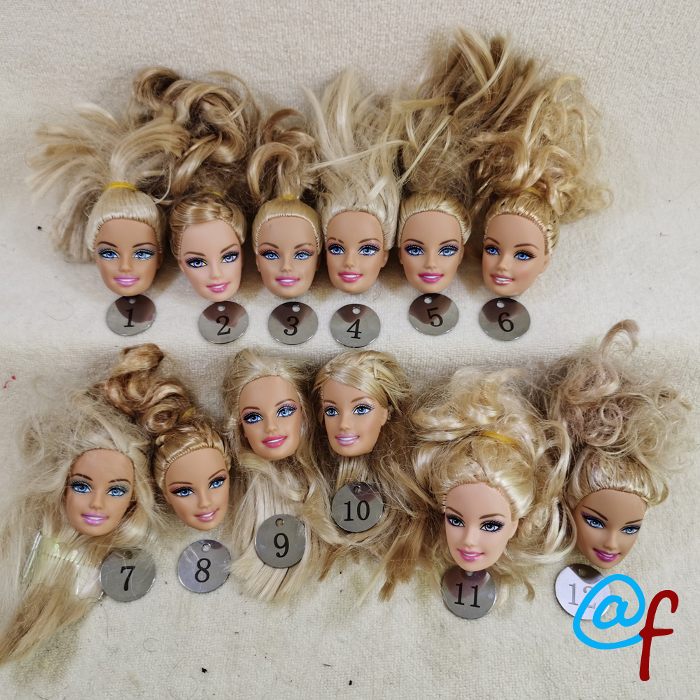 B5-2 Original Foreign Trade Europe Smile Blue Eyes Beauty 1/6 OOAK NUDE Doll Head Mussed Golden Hair For DIY 90% NEW