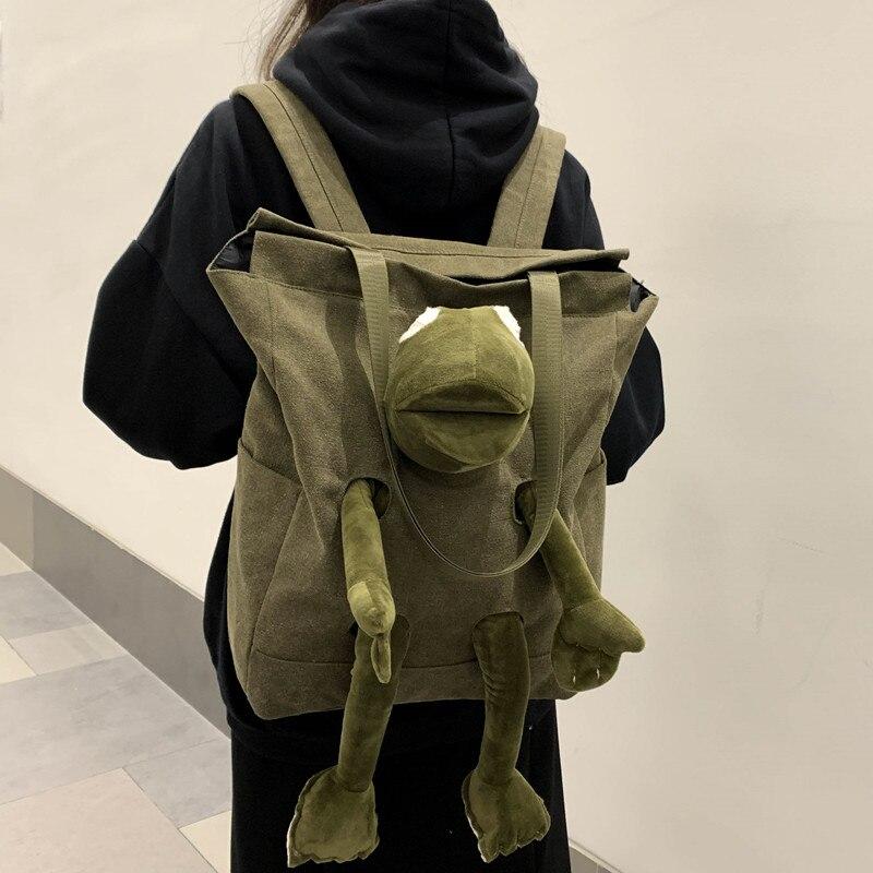 Nuevo verde sólido de Color de las mujeres mochila de Nylon con rana bolsa escolar Simple para las chicas bolso de viaje de hombro mochila escolar