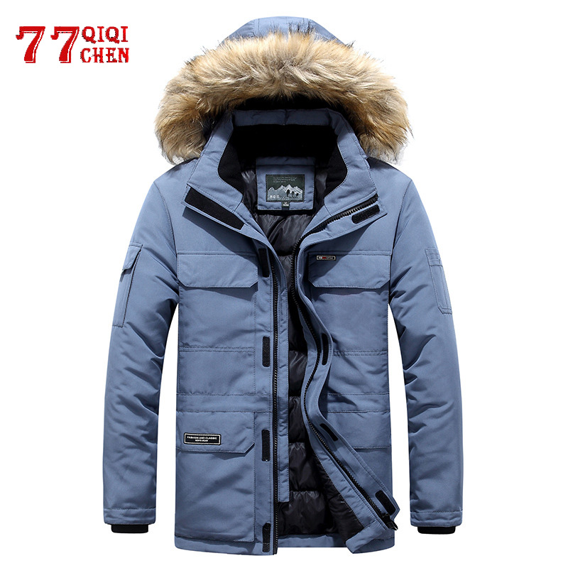 Mens Winter Jacket Warm Thick Cotton Multi-pocket Hooded Jacket Male Casual Fur Trim Coat Men's Down Jacket Coat Plus Size M-6XL