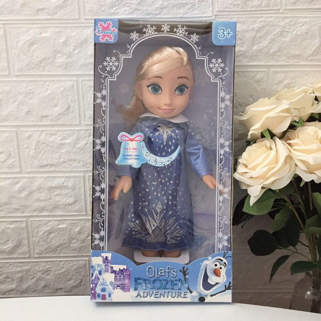 Disney Frozen 35CM Elsa Anna Princess Music Doll Anime Girl Toy Birthday Christmas Gift Box Toy For Children Pretend Play Toys