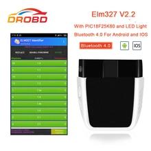 أداة تشخيص السيارة ، الماسح الضوئي للسيارة OBD2 ELM327 V2.2 PIC18F25K80 Bluetooth 4.0 ، أفضل من elm 327 V1.5
