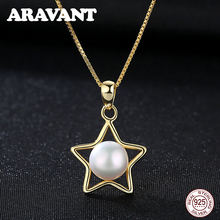 Real Natural Freshwater Pearl Pendant Gold Chain Necklace For Women 925 Sterling Silver Star Necklaces Wedding Jewelry