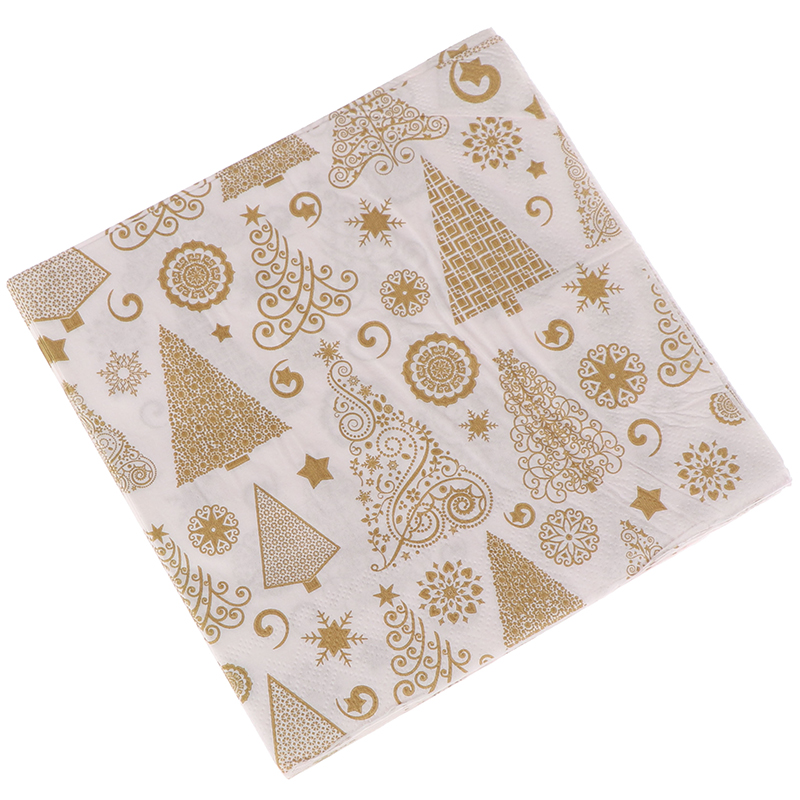 20PCS/set Square Christmas Paper Napkin Pocket Handkerchief For Home Xmas Table Decoration Festival Napkins Cloth