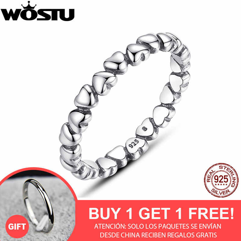 BUY 1 GET 1 WOSTU 100% 925 Sterling Silver Love Heart  Rings For Women  European Brand Jewelry Gift XCH7108