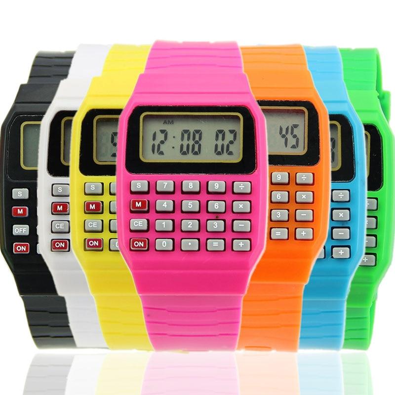 Новые водонепроницаемые туфли для детей силиконовые Дата Многоцелевой детские электронный калькулятор наручные часы
