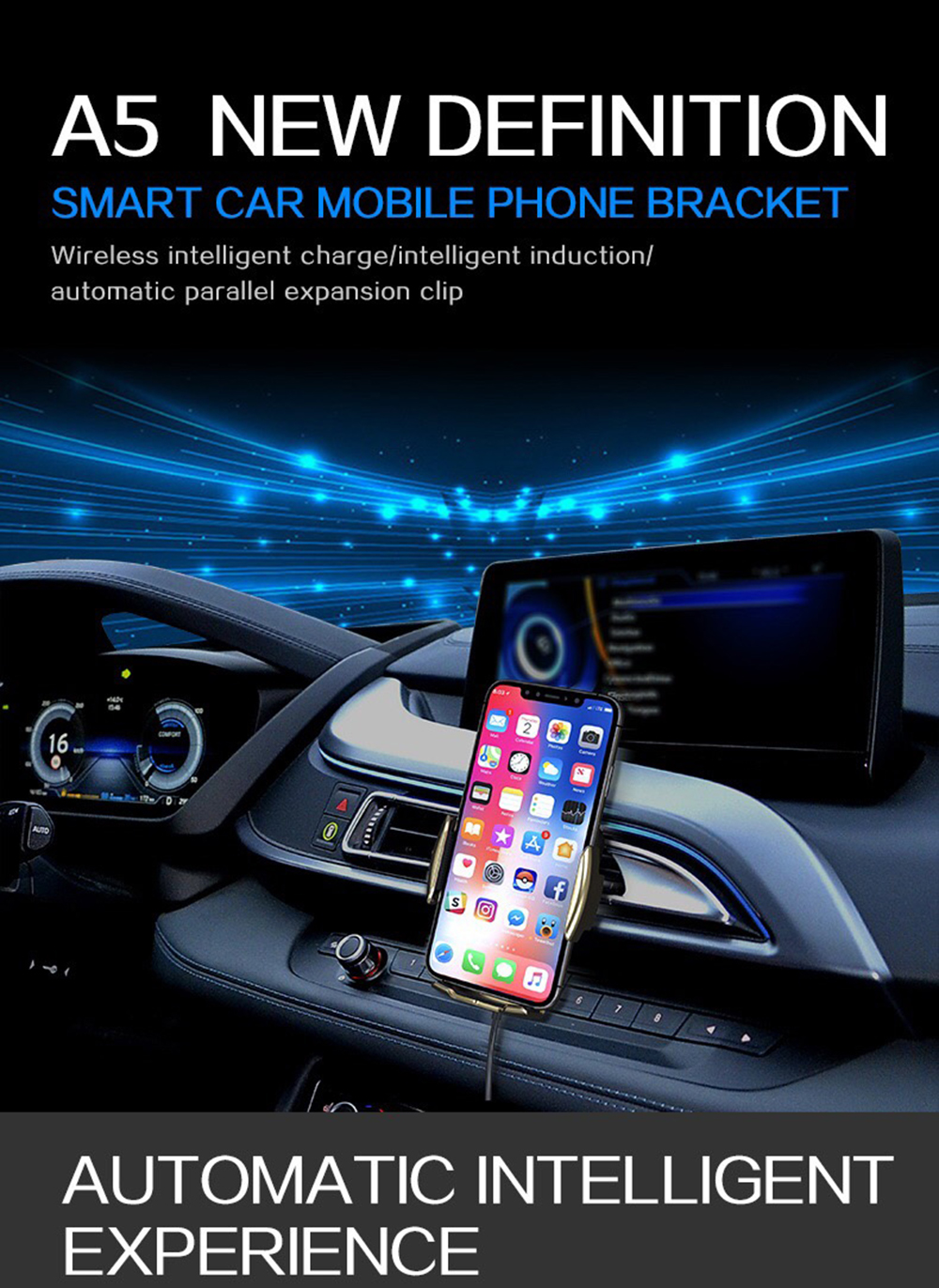 01Two-Point Smart Induction Wireless Charger Car Mount 10W Fast Charge Holder