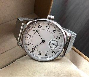 Image 4 - 44 มม.GEERVO สีขาว dial เอเชีย 6498 17 Jewels มือลมผู้ชายนาฬิกาขายส่ง 179a