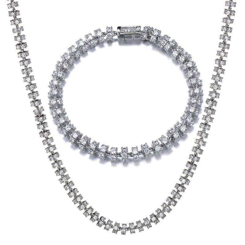 6MM ensemble Bling AAA CZ zircon cubique glacé rond lien chaîne collier Bracelet pour hommes femmes Hip Hop rappeur bijoux 18 ''-24''