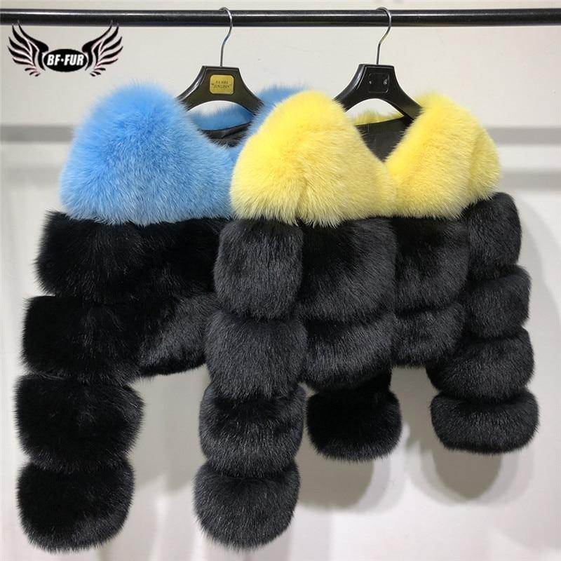 Fashion Short V-Neck Natural Fox Fur Coats For Women Winter Luxury Color Stitching Real Fox Fur Jacket Woman Outwear Fur Coat