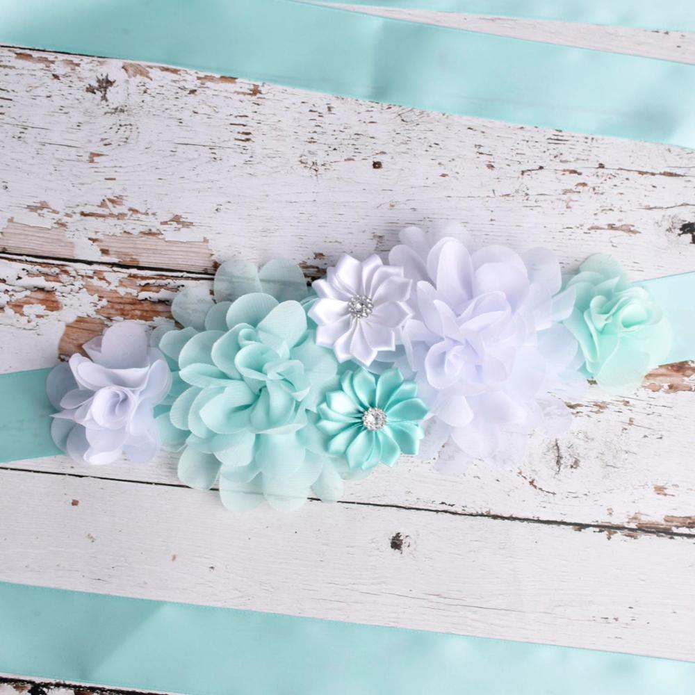 Aqua/White Maternity Sash Pregnancy Belly Belt Baby Shower Party Belt Wedding Flower Sash Postpartum Belt Pregnant Accessory