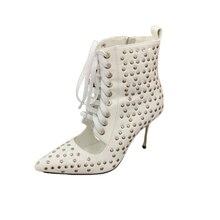 Sexy métal haut talons fins Chic femmes chaussures bout pointu en cuir femme pompes côté fermeture éclair Rivets embelli fête de mariage piste