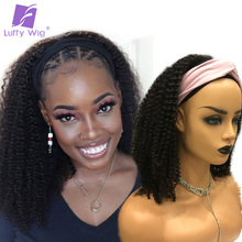 Headband Wig Human-Hair LUFFY Hair-Machine Curly Afro Kinky Women Brazilian for Wig-Remy