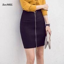 SEXMKL размера плюс, Женская мини юбка-карандаш,, корейская мода, высокая талия, черные юбки, короткая, офисная, на молнии, облегающая, красная юбка