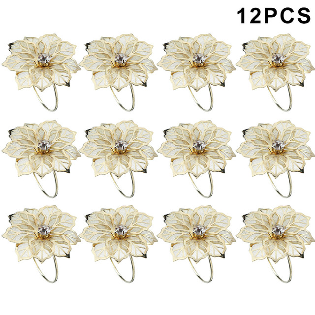 12 Pcs Floral Metal Rings Napkin Holder Dinner Wedding Towel Ring for Party Table HUG-Deals