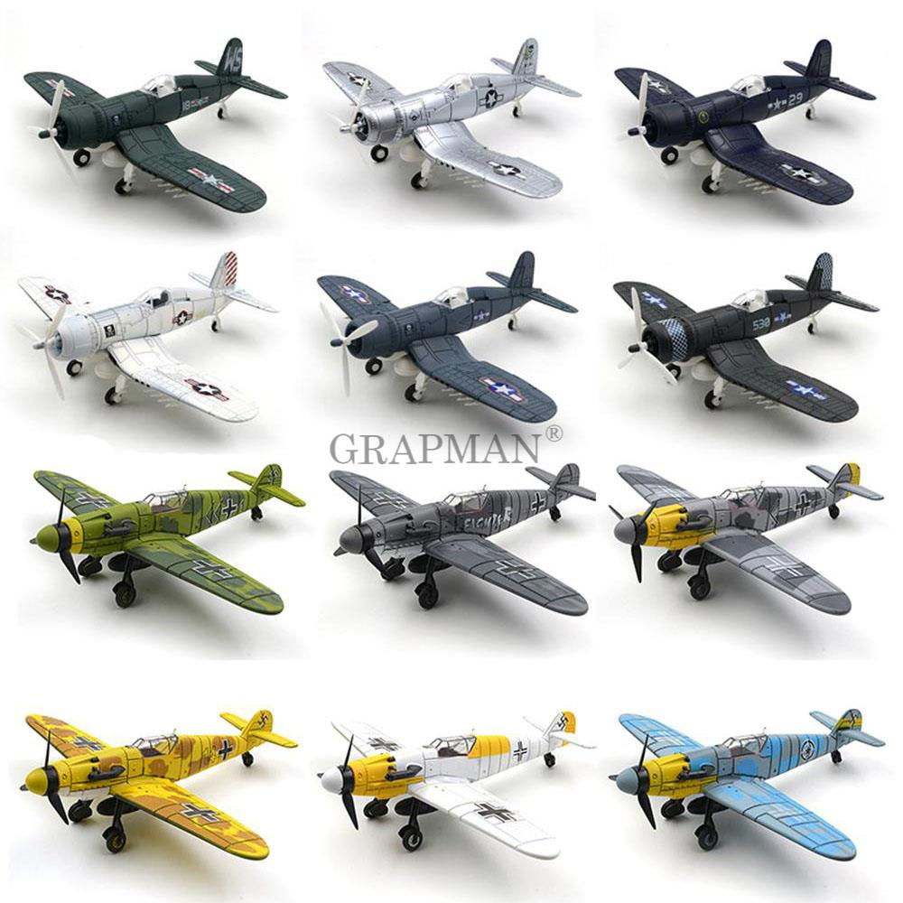 1/64 WWII German BF109 UK Hurricane Fighter 4D Assemble Fighter Military Airplane Model Arms Building Blocks Toys For Boys
