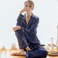 Pijama de cetim de seda das mulheres conjunto de pijamas de manga comprida pijamas pijamas terno feminino sono duas peças conjunto loungewear plus size