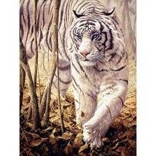 5d алмазная живопись белый тигр полная круглая картина вышивка