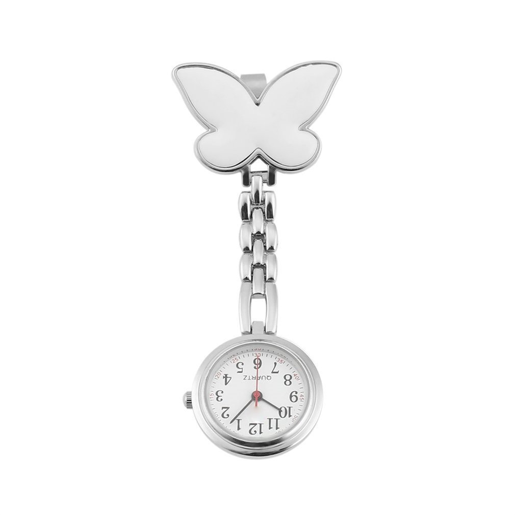 HOT Butterfly Shape Antique Stainless Steel Nurse Pocket Fob Watch Silver Medical Doctor Brooch Quartz Analog Pendant Watch