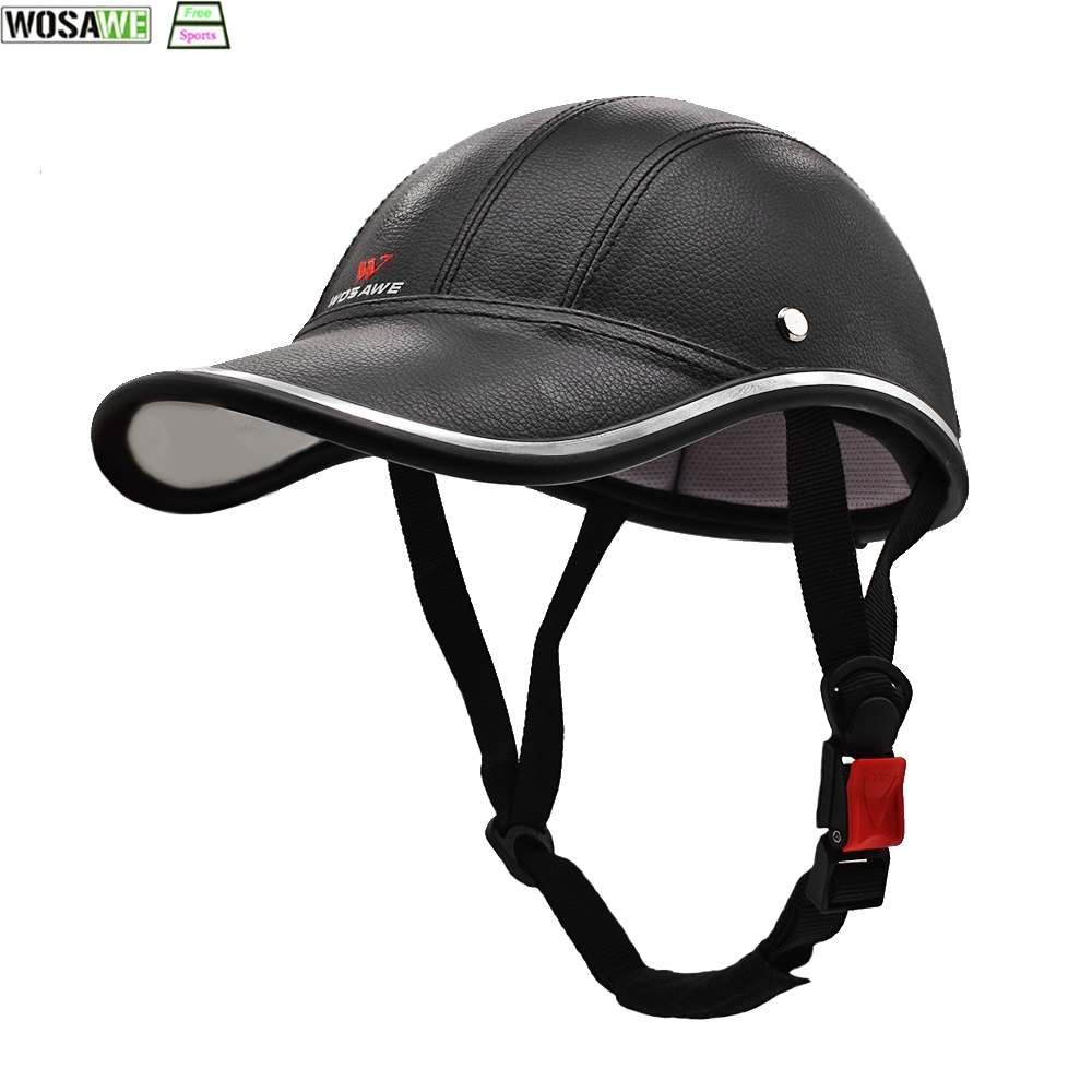 WOSAWE Protection Helmet PU Leather Baseball Cap Cycling Helmet Electric Scooter Bicycle mtb Skiing Riding Protective Helmet
