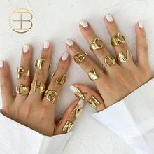 2020 neue Einstellbare Öffnen Damen Sinnvolle Gold Ersten Ringe Schmuck Geschenk Chunky A-Z Brief Ringe Für Frauen