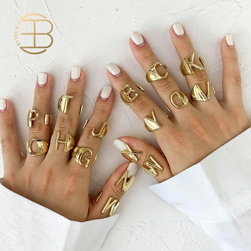 2020 neue Personalisierte Einstellbare Gold Initial Ring lady Golden A-Z Brief Ringe Für Frauen