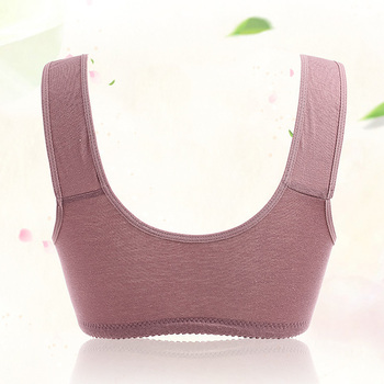 Comfy Cotton Full Cup Bralette With Detachable Chest Pad Breathable Stretchy Front Buckle Bra Women Underwear Vest Brassiere