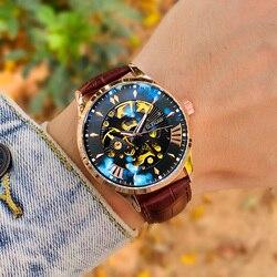 GLENAW Hollow szkielet automatyczny zegarek Top marka luksusowe zegarki mechaniczne męski zegarek sportowy Luminous wodoodporny Handwatch prezent