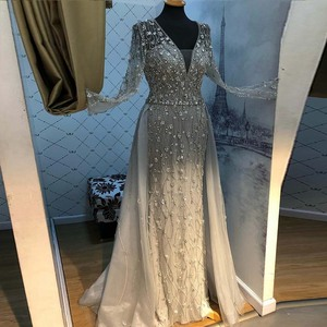Image 3 - Yeni varış gümüş abiye zarif V boyun uzun kollu tül kristal boncuklar resmi elbise parti kadın gece elbisesi Mermaid