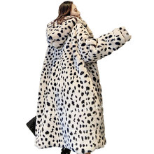 Korean 2021 New Imitation Fur Leopard Print Fur Coat Fur One Coat Women Winter Jacket Women Fashion Hooded Warm Parkas Jacket