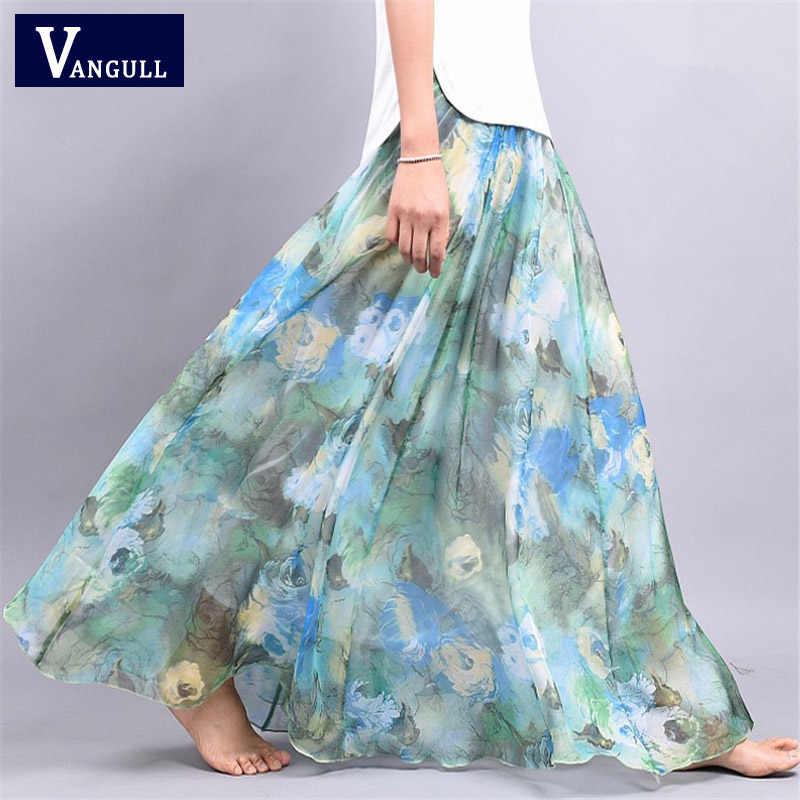 2020 جديد الصيف بوهيميا المرأة تنورة شيفون سيدة منتصف العجل ألف خط متعدد الألوان كبيرة الأزهار طباعة سيدة البندول الجنية تنورة