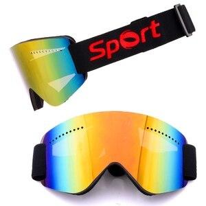 Frameless óculos de esqui neve snowboard óculos de proteção da motocicleta anti-nevoeiro esférico len esqui snowmobile óculos de proteção uv