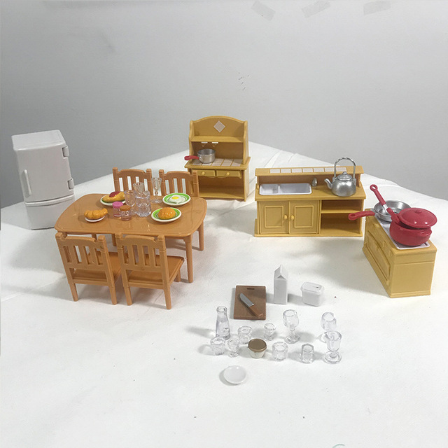 1:12 Forest Home Villa Furniture Set Toy Forest Animal Family Mini Bedroom Set Mini Living Room Furniture Toy Gift 1