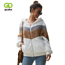 GOPLUS Faux Fur Fluffy Sweatshirt Striped Hoodies Long Sleeve Cardigans Autumn Winter 2019 Streetwear Oversized Sudadera Mujer