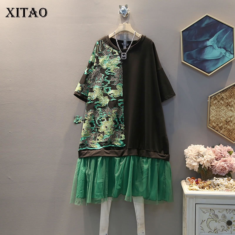 XITAO Lace Hem Embroidery Dress Fashion New Women 2020 Pullover Patchwork Goddess Fan Minority Loose Small Fresh Dress DMY3030