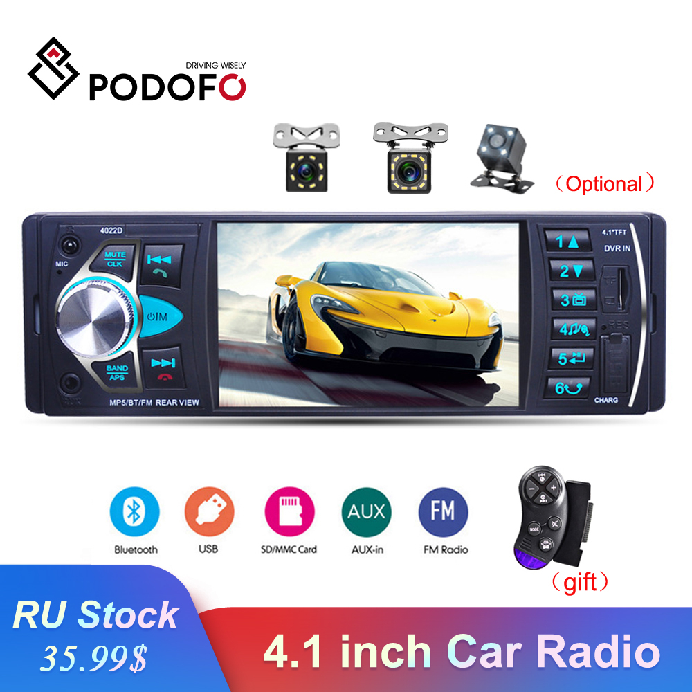 Podofo 4022D Car Radio 1 din 4.1 inch Auto Audio Stereo Bluetooth FM USB Support Rear View Camera USB Steering Wheel Control image