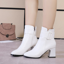 White Black Thick High Heel Ankle Boots Women 2019 Pointed Toe Keep Warm Elegant Short Booties Ladies Ankle Buckle Decoration(China)