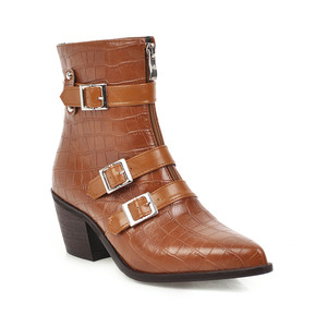 Image 4 - YMECHIC Plus Size Occident Brown Buckle Front Zipper Block Heels Ankle Boots for Women Shoes Cowboy Western Boots Winter 2019