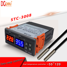STC-3008 Dual Digital Temperature Controller Incubator Thermostat Two Relay Output Thermoregulator Heater Cooler Control Switch