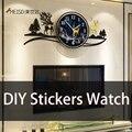 Зеркальные настенные часы MEISD с наклейками «сделай сам», кварцевые большие Самоклеящиеся украшения для дома, комнатное искусство
