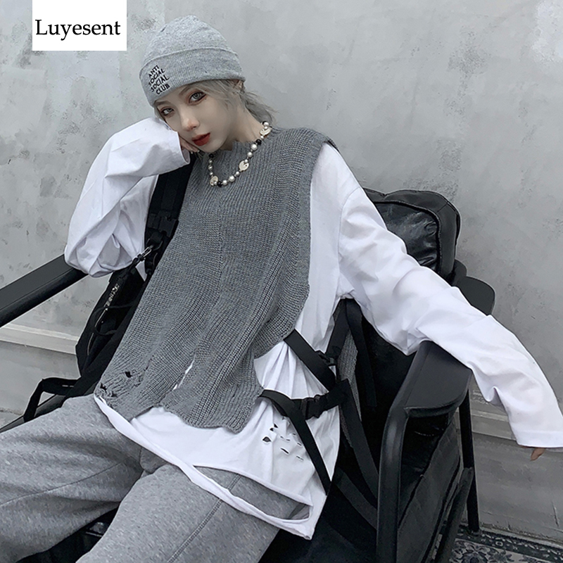 Black Gray Punk Unisex Vest Sweater Women Man Ribbon With Plastic Buckle Cool Hollow Out Sleeveless Slit Knit Vests Harajuku New